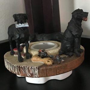 Yankee candle jar topper  black Labrador dogs